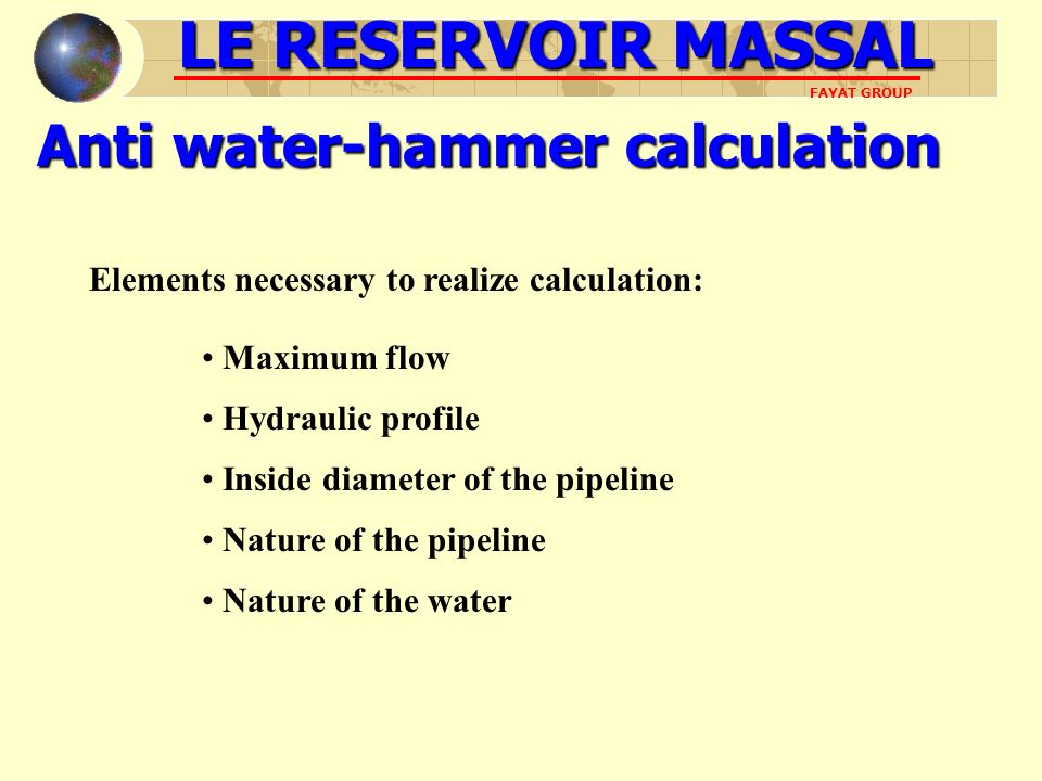 Anti water-hammer calculation