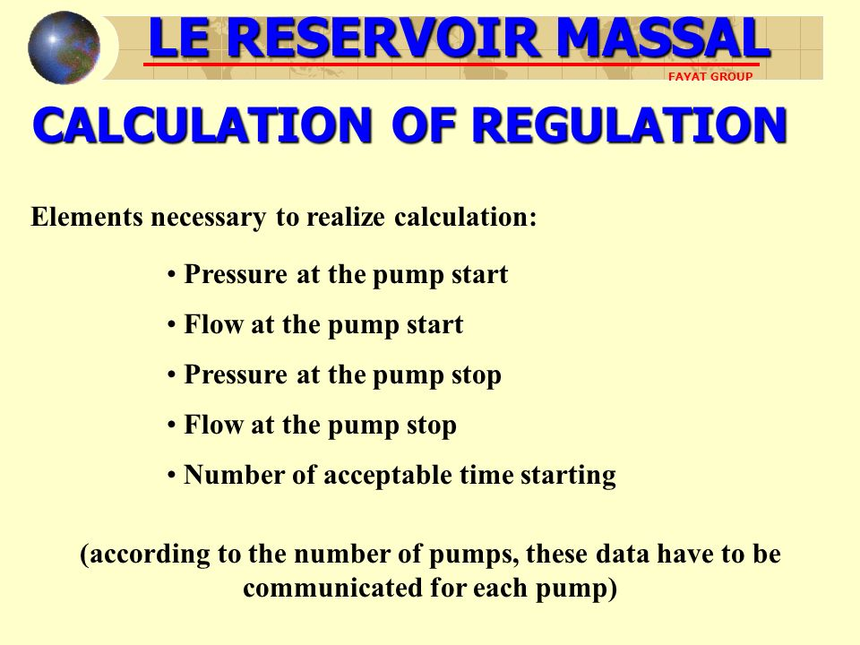 CALCULATION OF REGULATION