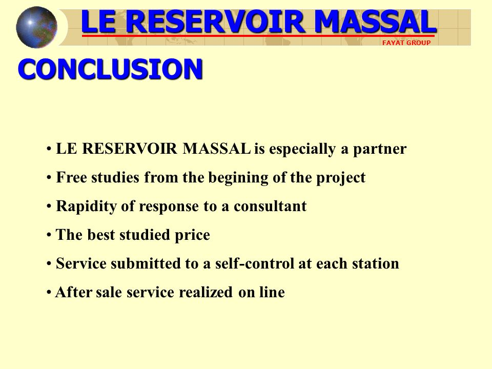 LE RESERVOIR MASSAL CONCLUSION