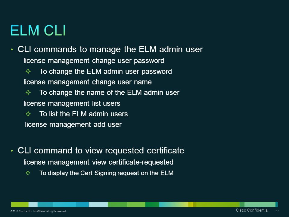 ELM CLI CLI commands to manage the ELM admin user