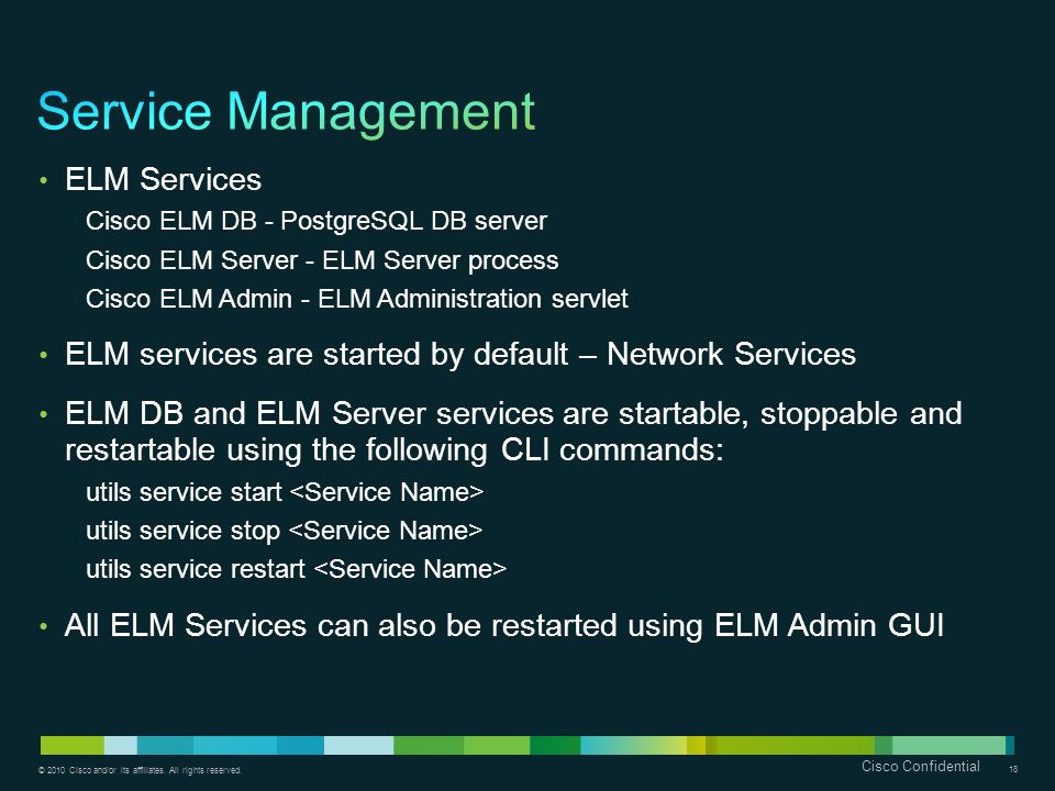 Service Management ELM Services