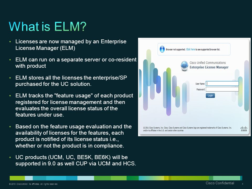 What is ELM Licenses are now managed by an Enterprise License Manager (ELM) ELM can run on a separate server or co-resident with product.