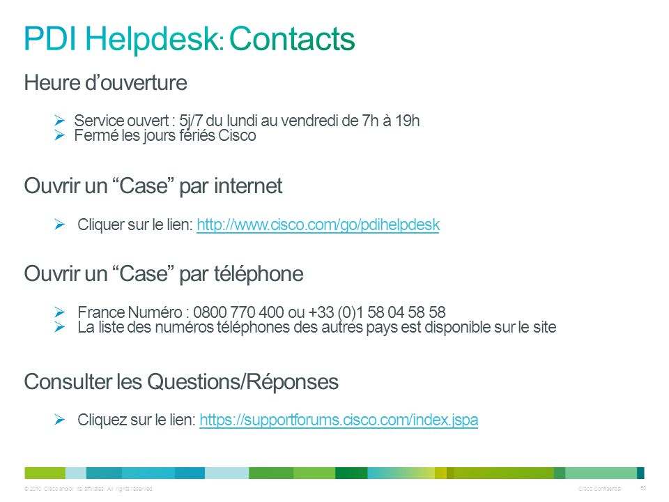 PDI Helpdesk: Contacts
