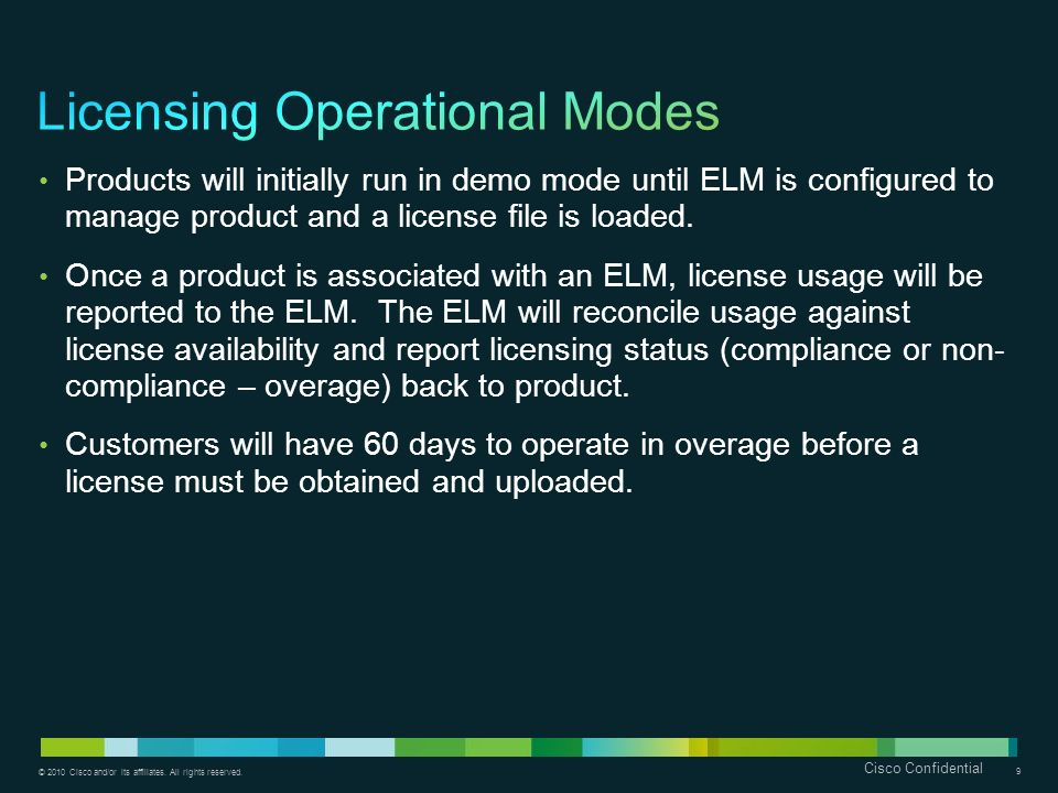 Licensing Operational Modes