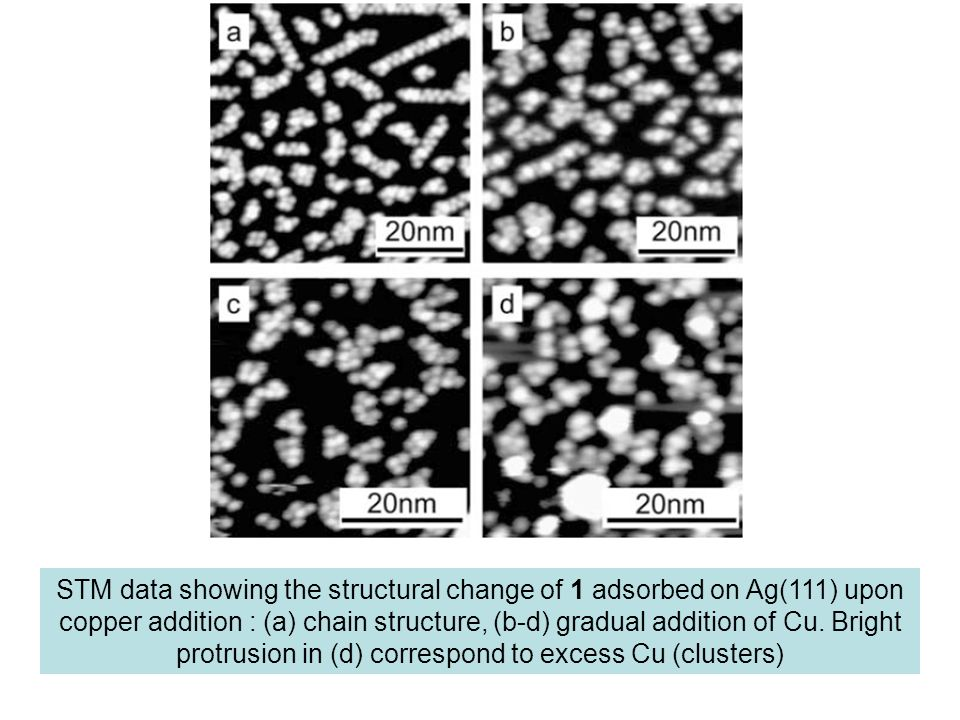 STM data showing the structural change of 1 adsorbed on Ag(111) upon copper addition : (a) chain structure, (b-d) gradual addition of Cu.
