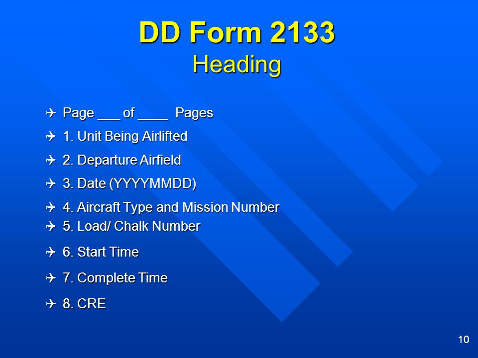 DD Form 2133 Heading Page ___ of ____ Pages 1. Unit Being Airlifted