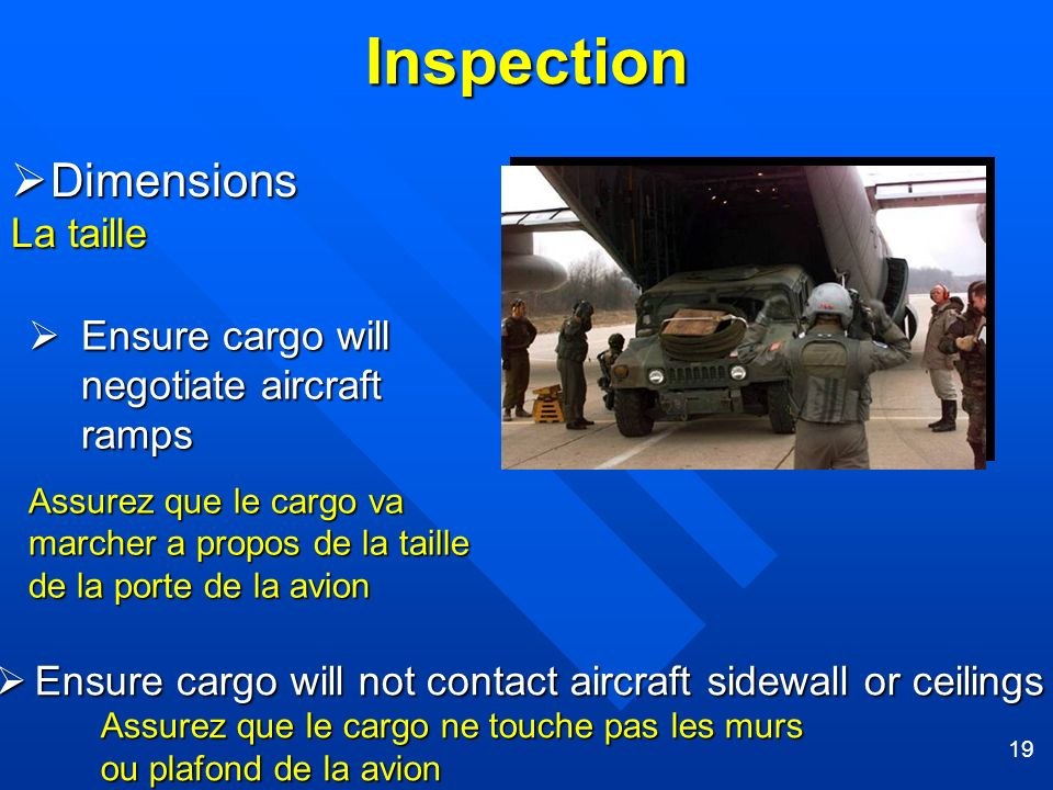 Inspection Dimensions La taille