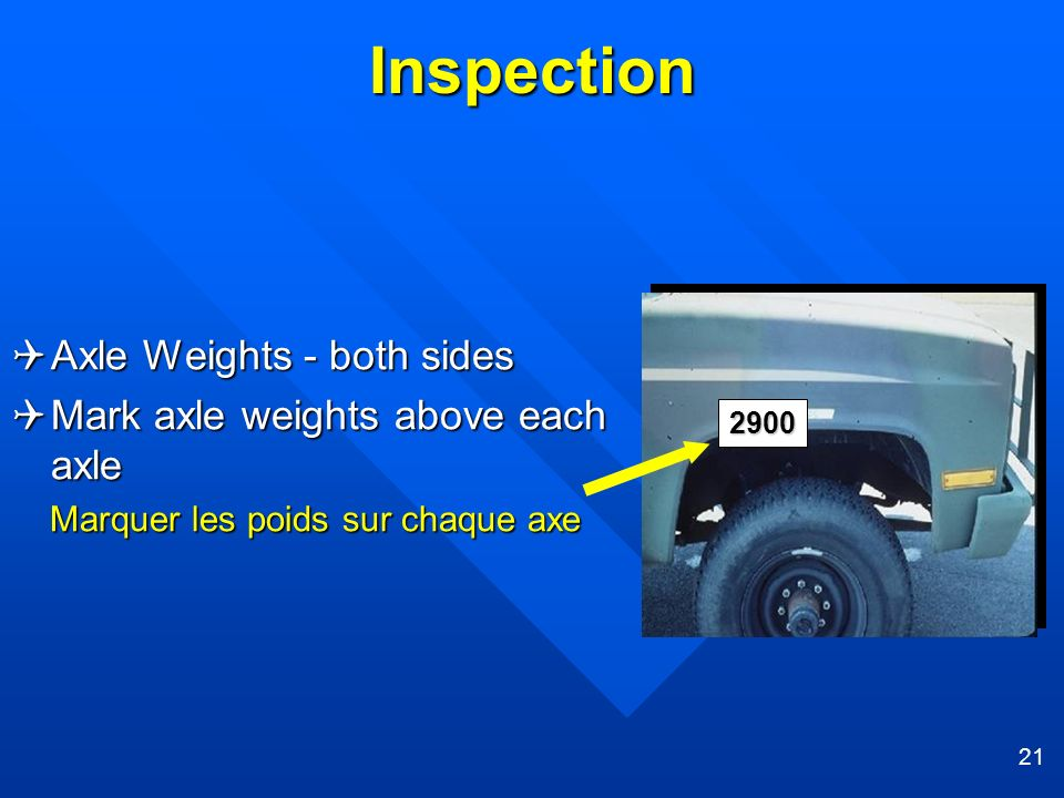 Inspection Axle Weights - both sides Mark axle weights above each axle