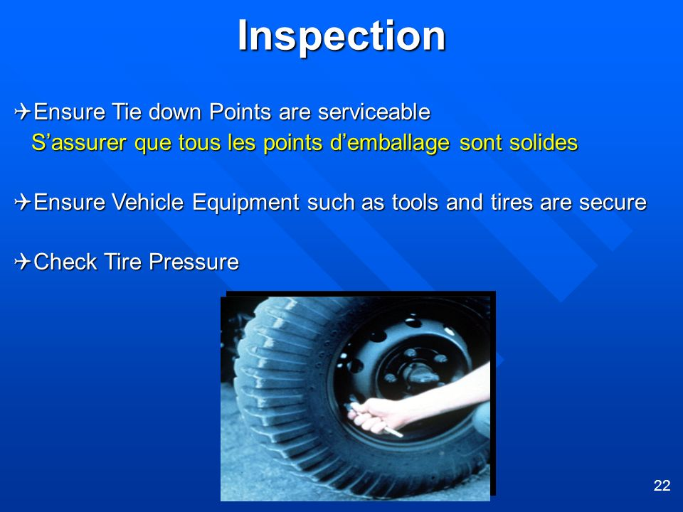 Inspection Ensure Tie down Points are serviceable
