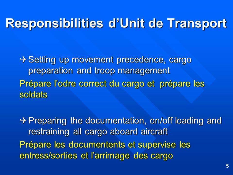Responsibilities d'Unit de Transport