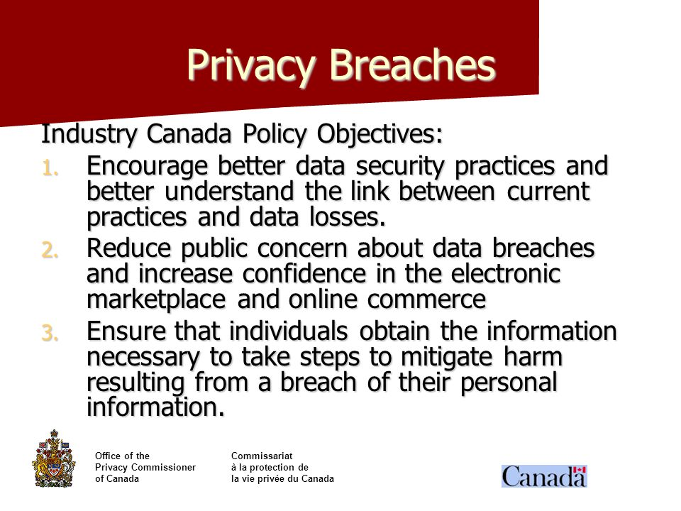 Privacy Breaches Industry Canada Policy Objectives: