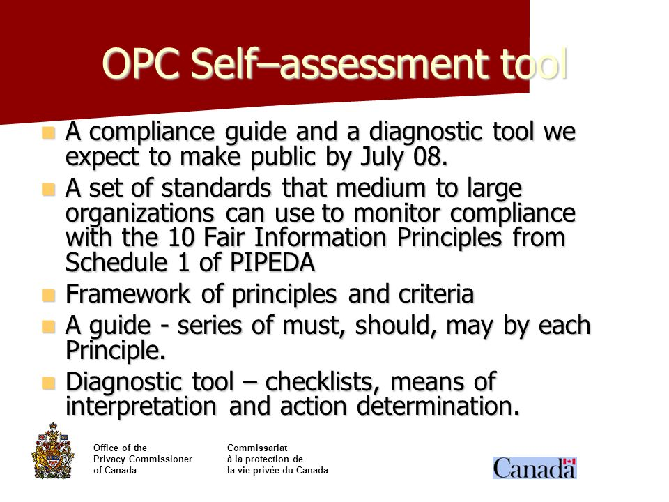 OPC Self–assessment tool