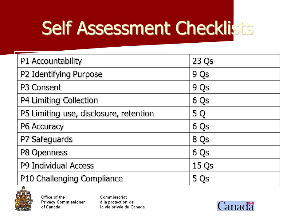 Self Assessment Checklists
