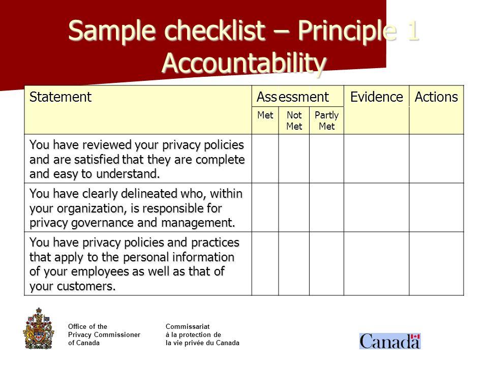 Sample checklist – Principle 1 Accountability
