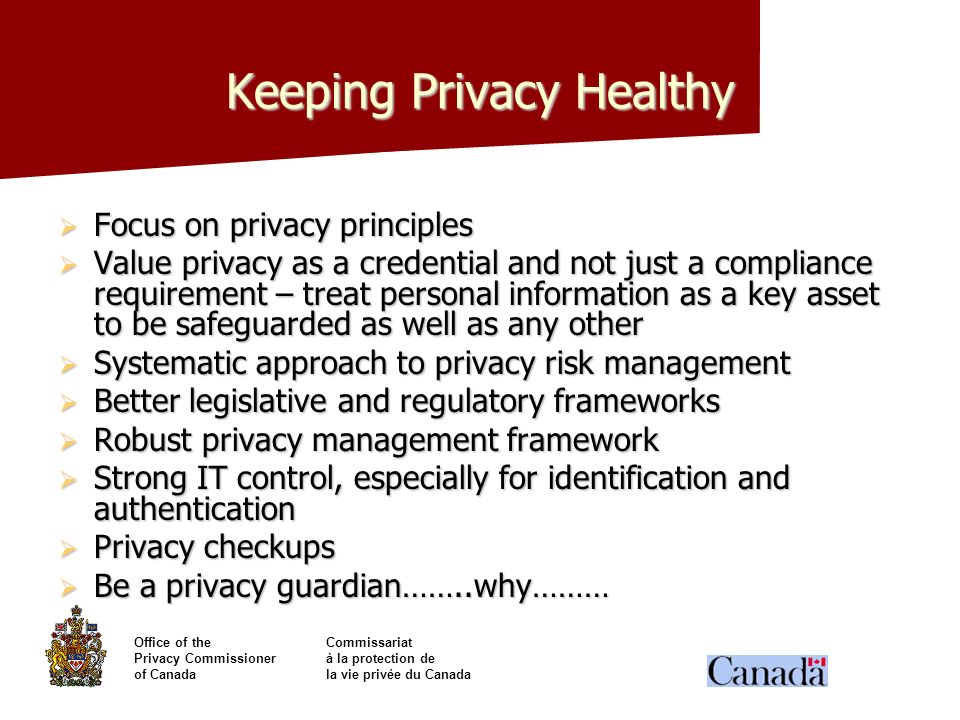 Keeping Privacy Healthy