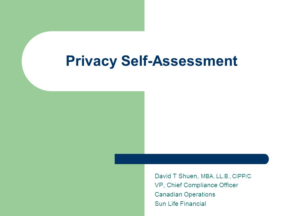 Privacy Self-Assessment