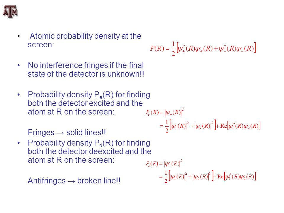 Atomic probability density at the screen: