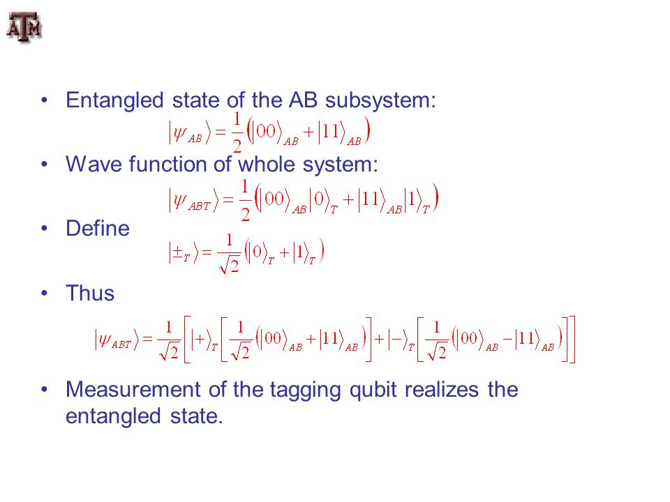 Entangled state of the AB subsystem: