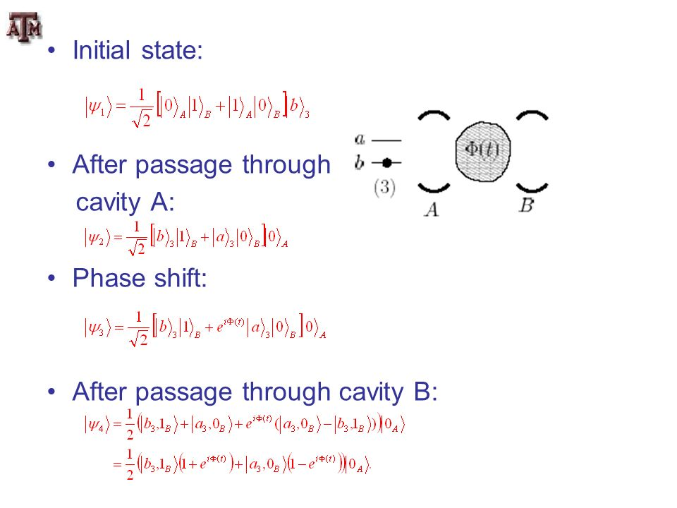 Initial state: After passage through cavity A: Phase shift: After passage through cavity B: