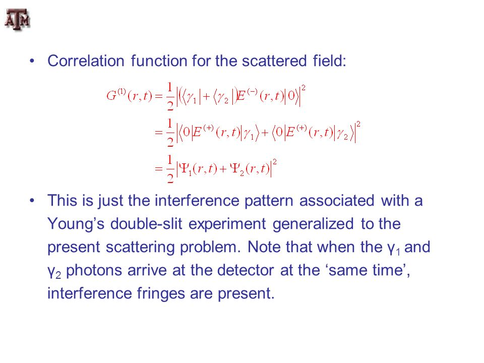 Correlation function for the scattered field: