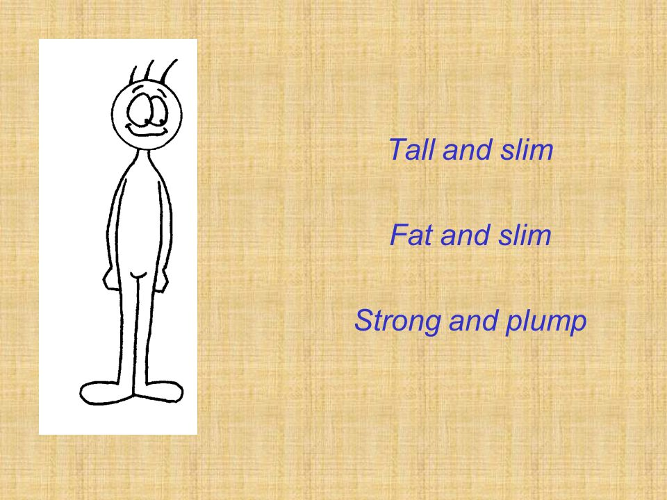 Tall and slim Fat and slim Strong and plump