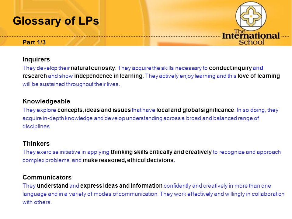 Glossary of LPs Part 1/3 Inquirers Knowledgeable Thinkers