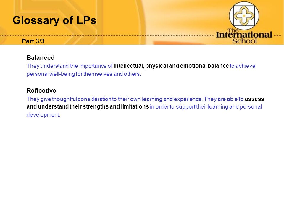 Glossary of LPs Part 3/3 Balanced Reflective