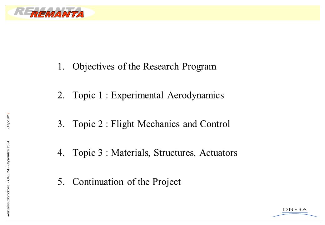 Objectives of the Research Program