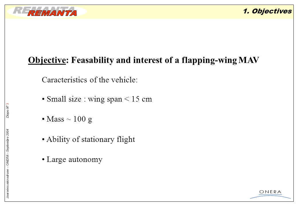 Objective: Feasability and interest of a flapping-wing MAV