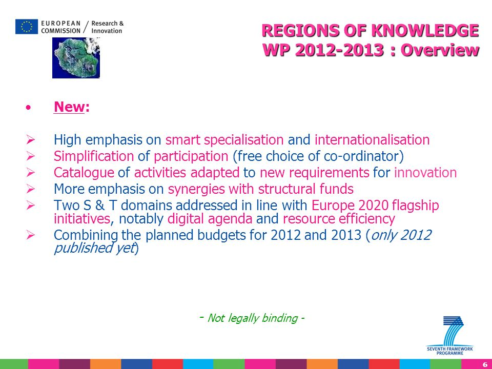 REGIONS OF KNOWLEDGE WP 2012-2013 : Overview