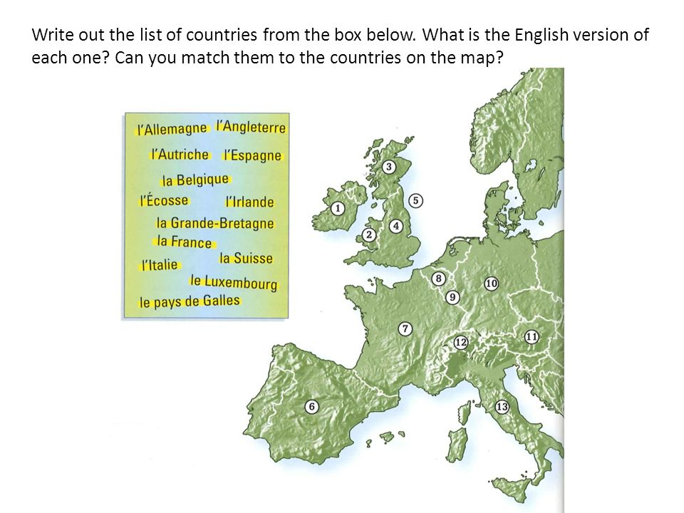 Write out the list of countries from the box below