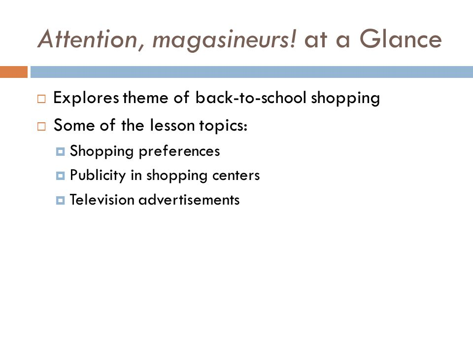Attention, magasineurs! at a Glance