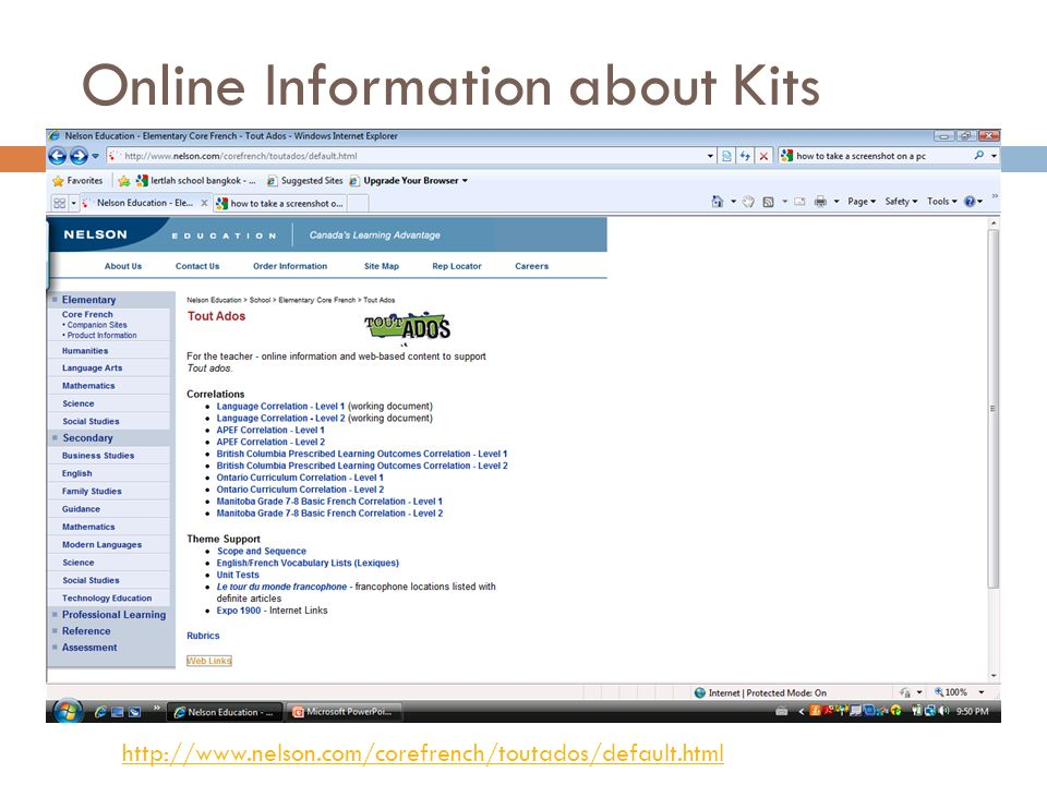 Online Information about Kits