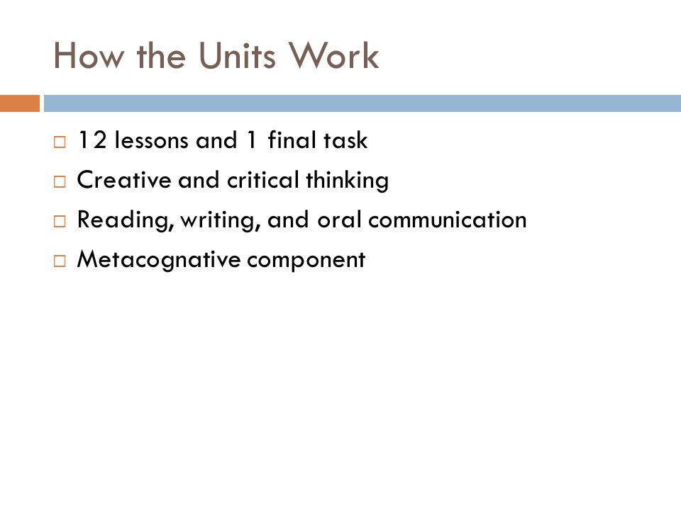 How the Units Work 12 lessons and 1 final task