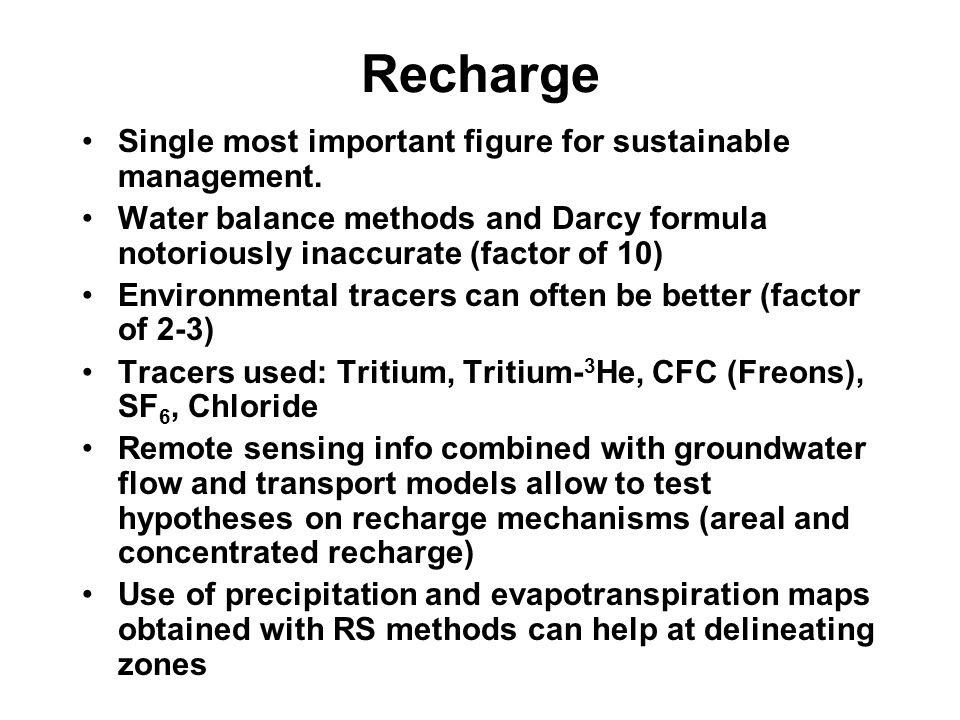 Recharge Single most important figure for sustainable management.