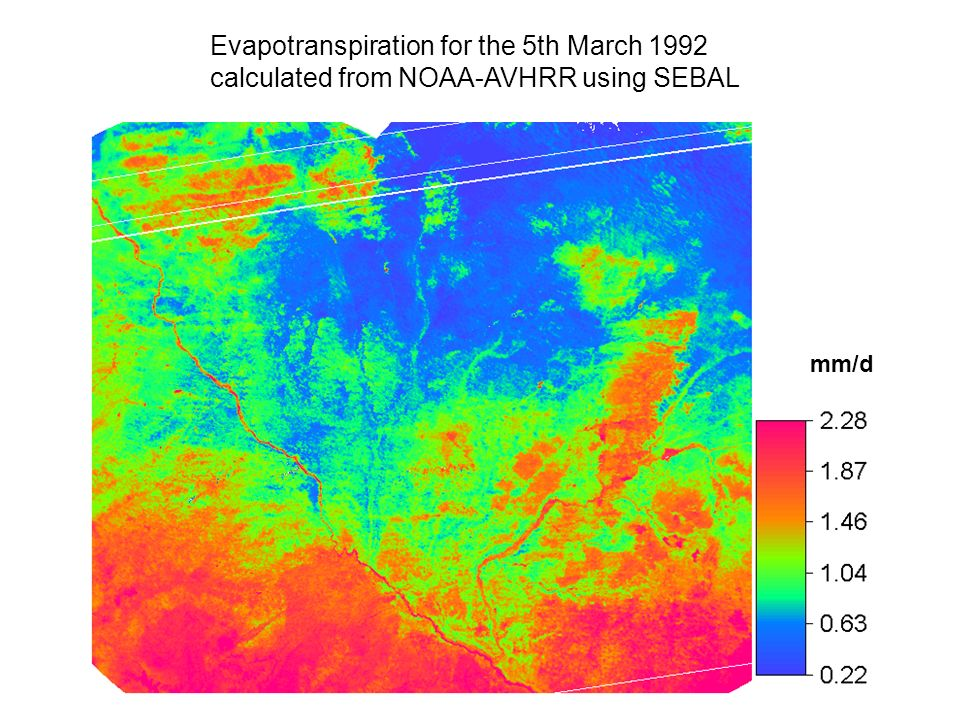 Evapotranspiration for the 5th March 1992