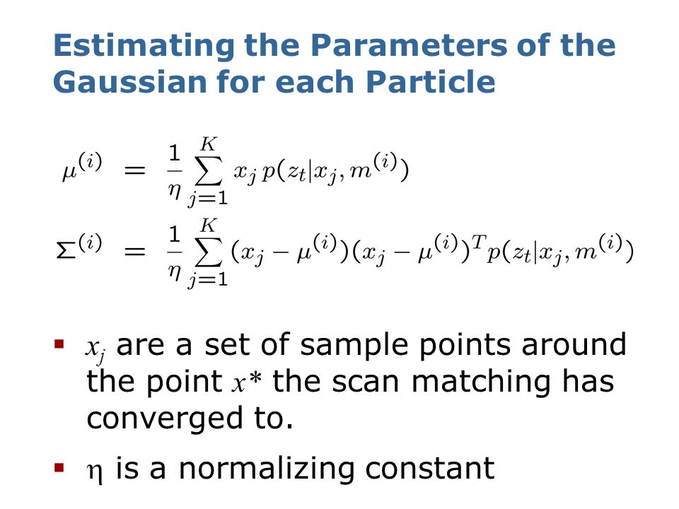 Estimating the Parameters of the Gaussian for each Particle