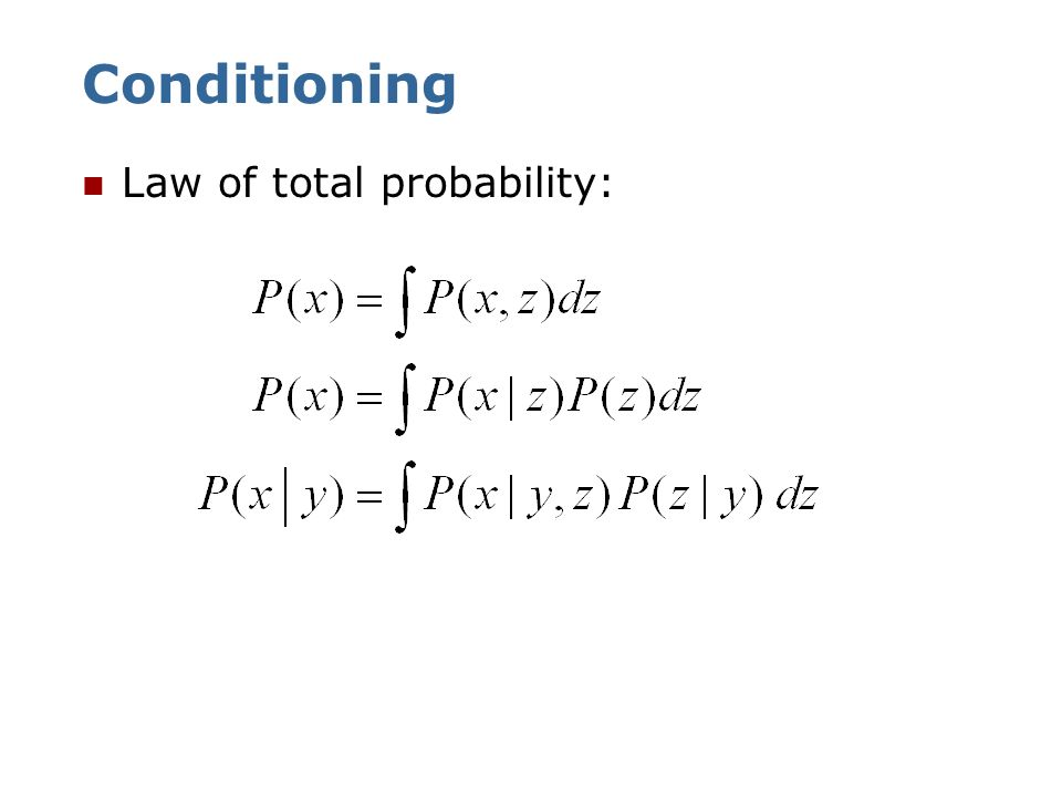 Conditioning Law of total probability: