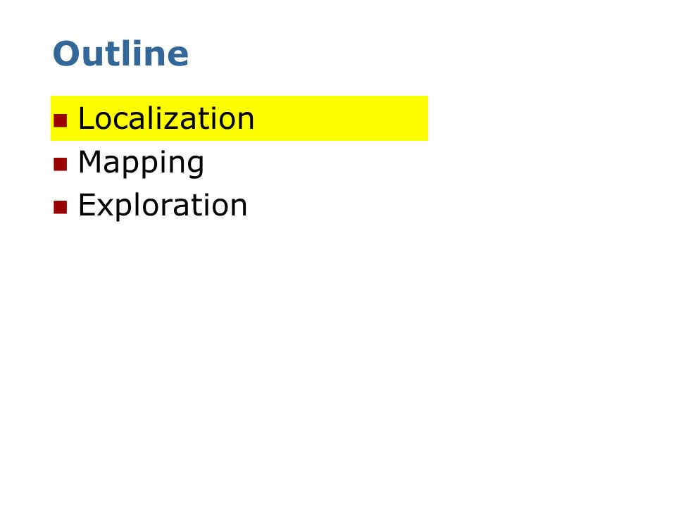 Outline Localization Mapping Exploration