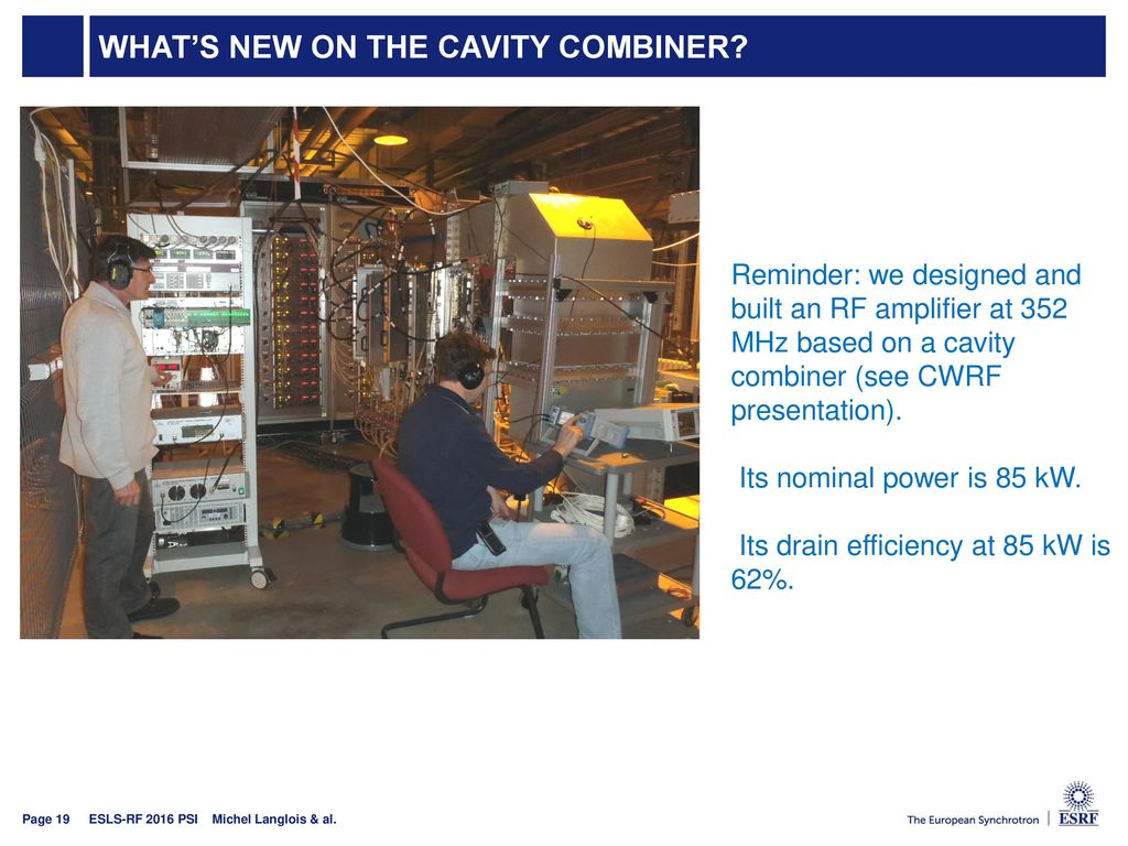 What's new on the cavity combiner
