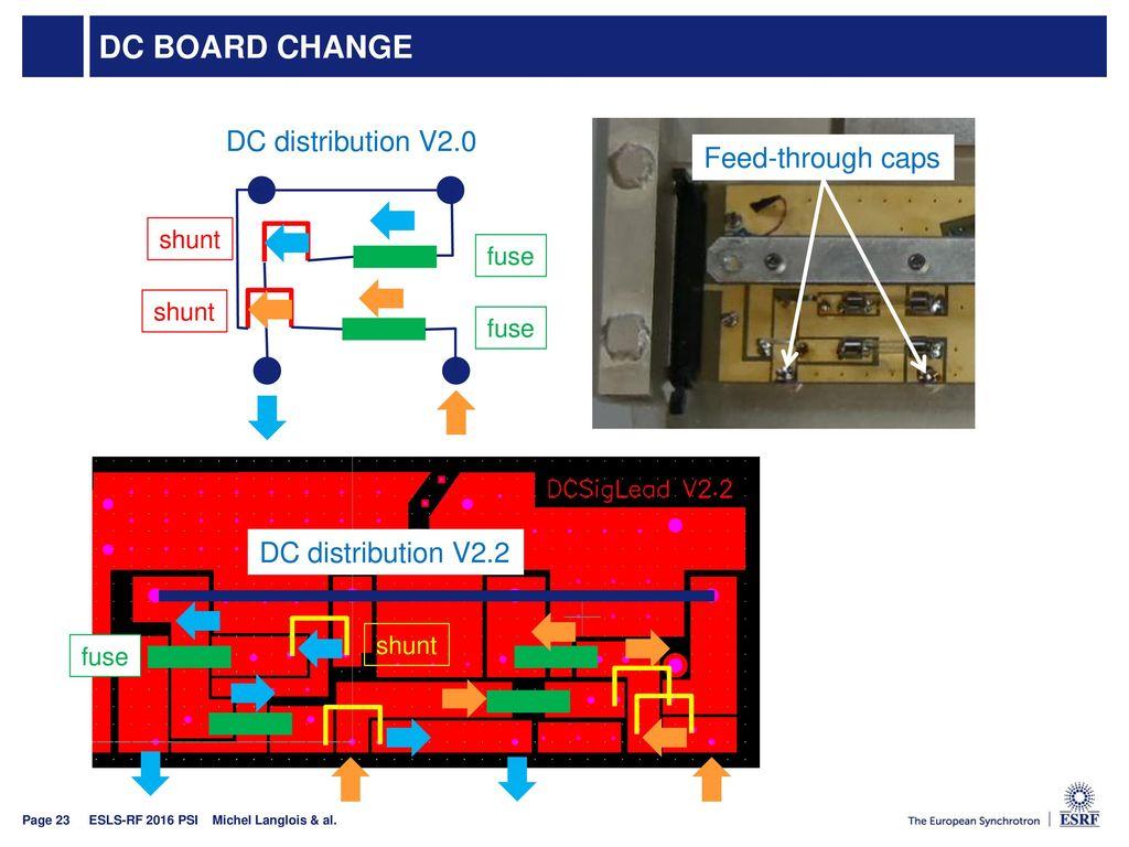 DC board change DC distribution V2.0 Feed-through caps