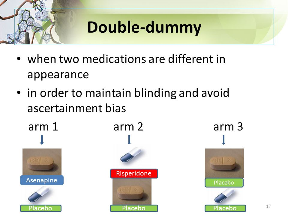 Double-dummy when two medications are different in appearance