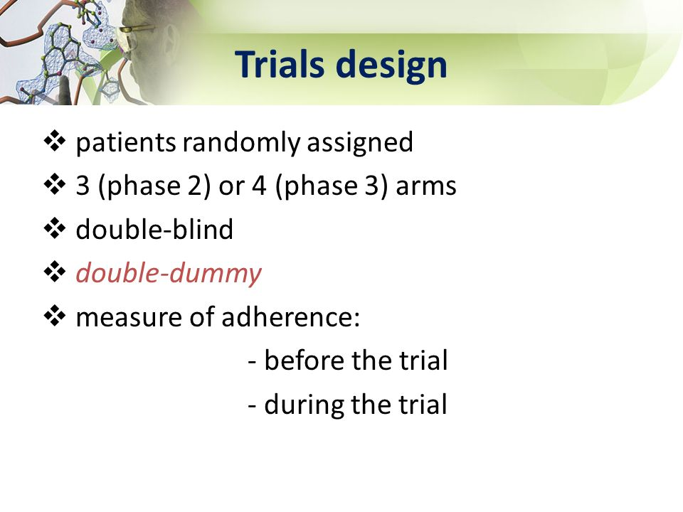 Trials design patients randomly assigned