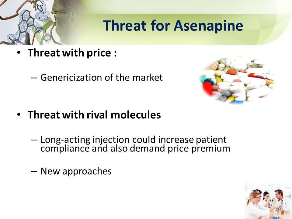 Threat for Asenapine Threat with price : Threat with rival molecules