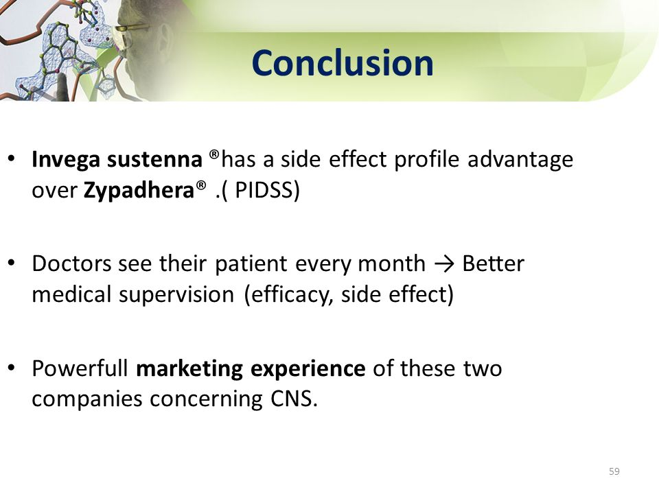 Conclusion Invega sustenna ®has a side effect profile advantage over Zypadhera® .( PIDSS)
