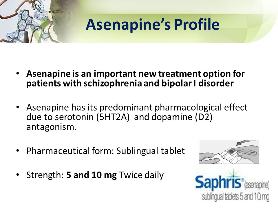 Asenapine's Profile Asenapine is an important new treatment option for patients with schizophrenia and bipolar I disorder.