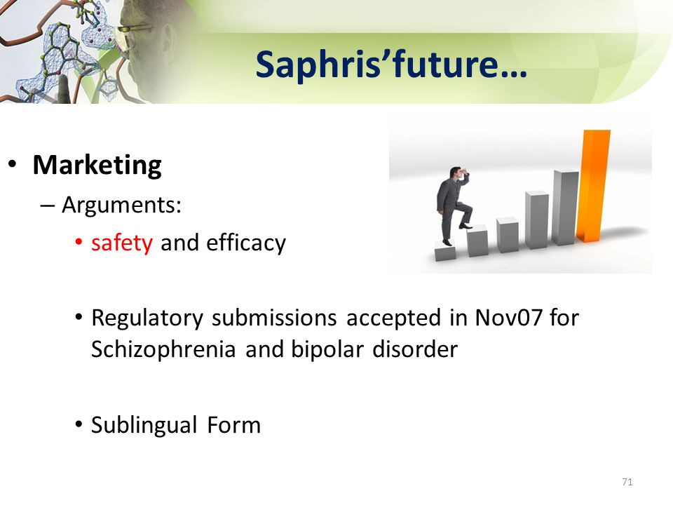 Saphris'future… Marketing Arguments: safety and efficacy