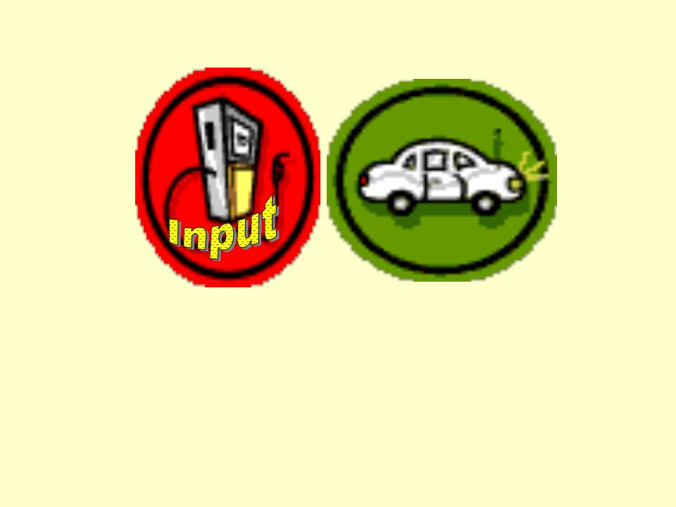 Input is like gas for a car …