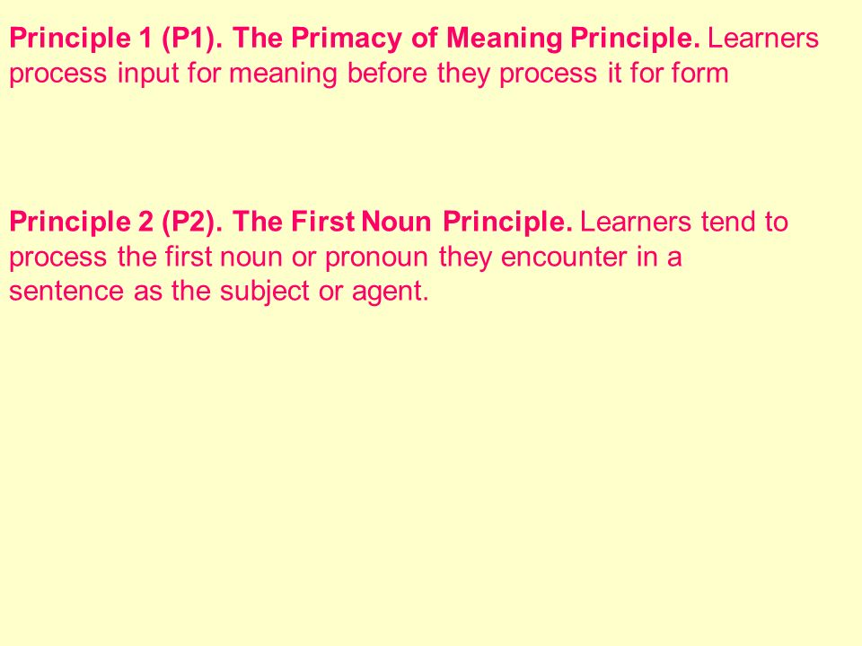 Principle 1 (P1). The Primacy of Meaning Principle