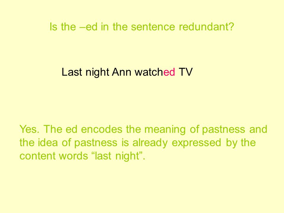 Is the –ed in the sentence redundant